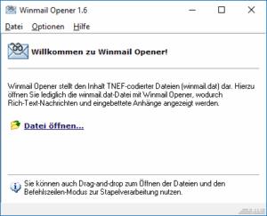 Das Programm Winmail Opener öffnet eine WINMAIL.DAT