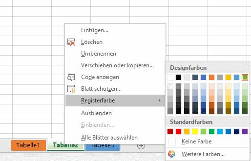 Excel Register färben