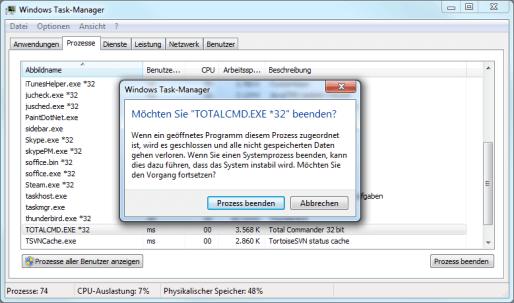 Windows 7 Programm abbrechen über die Taskbar