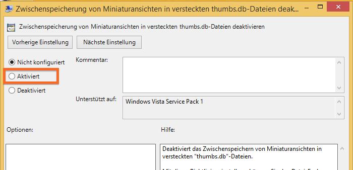 Konfigurationsfenster für thumbs.db