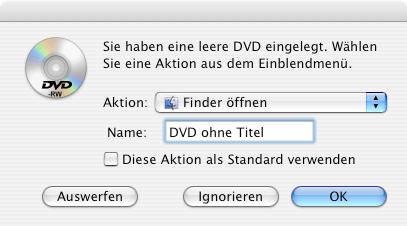 Dialog zum Beschreiben einer neu eingelegten DVD-RW auf Mac OS X
