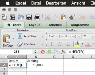 Zelle in Excel auf dem Mac