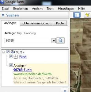 Suche per Postleitzahl in Google Earth