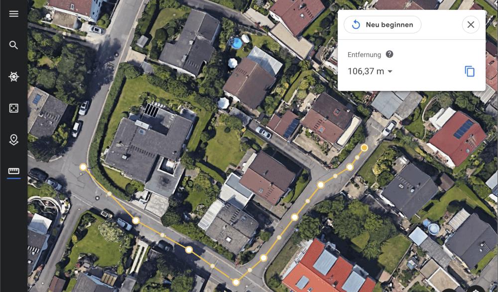 Entfernung messen in Google Earth