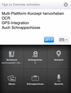 Evernote auf iPhone