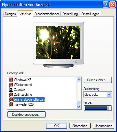 Desktop Hintergrundbild ändern