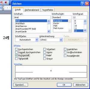 Menü Format-Zeichen in Word für Windows