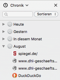 Firefox Chronik in der Sidebar