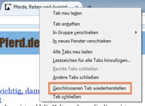 Geschlossene Tabs wiederherstellen in Firefox