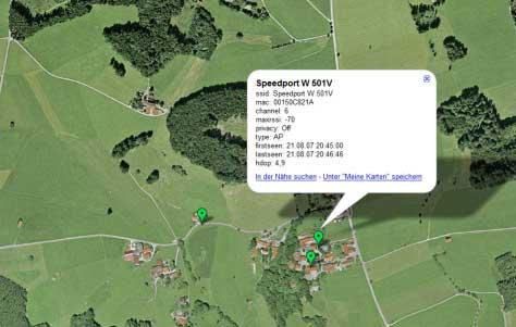 Google Earth Ansicht eines WLAN Zugangspunktes