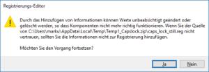 Vorm Einarbeiten der REG-Datei in die Registry warnt Sie Ihr PC vor potentiellem Schaden.