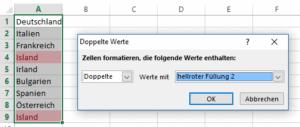 Excel - Beispiel fuer Doppelte Werte