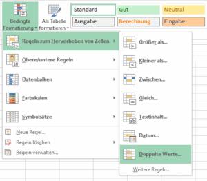 Excel Doppelte Werte erkennen