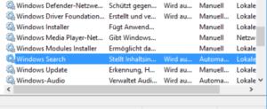 Windows Search deaktivieren - Suche nach dem Dienst