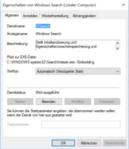 Windows Search abschalten mit Beenden