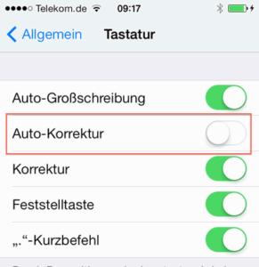 Bei iPhone und iPad die Autokorrektur abschalten