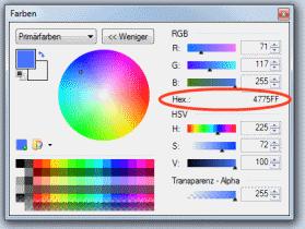 Erweitertes Farbfenster in Paint Net