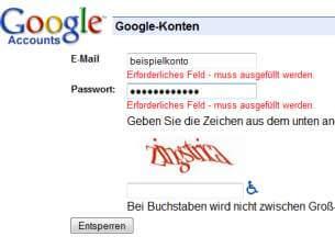 Google Mail Reaktivierung