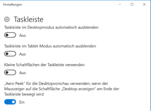 Taskleiste verkleinern in Windows 10