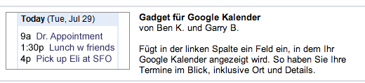 Google Mail: Gadget für den Kalender