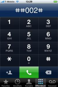 Nummerncode zum Abschalten der Mobilbox