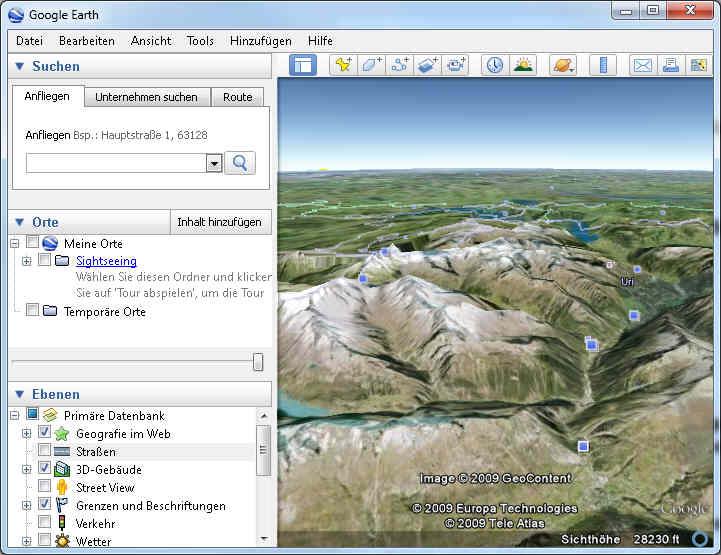 Programmfenster von Google Earth