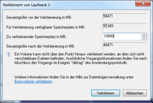 Partition verkleinern in Windows 7