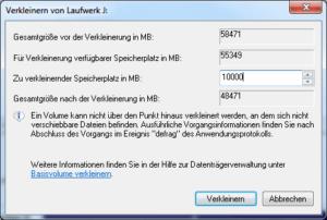 Partition verkleinern in Windows 7