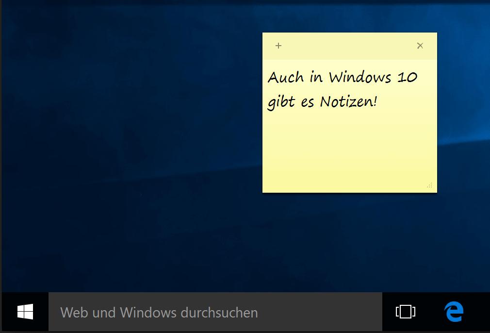 Haftnotiz auf Desktop von Windows 7