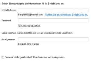 Windows Live Mail: Konto hinzufügen