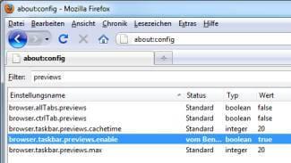 Firefox Konfiguration Tabs in Taskbar sichtbar