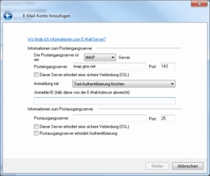 Windows Live Mail - Mail-Konto von Hand konfigurieren