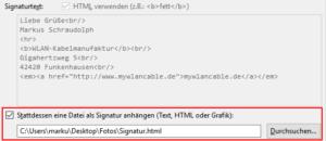 Dateivorlage als Signatur verwenden