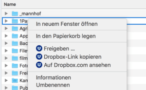 Dropbox im Finder auf dem Mac