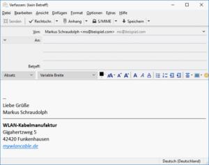 Thunderbird Beispiel Grußformel als HTML