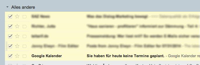In Google Mail markierte E-Mail