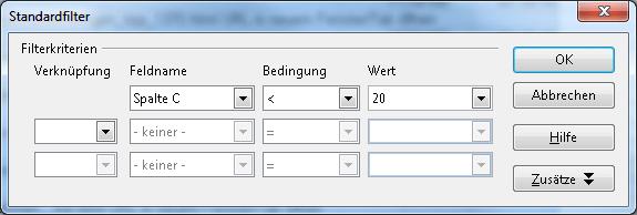 Filterbedingungen in Openoffice Calc