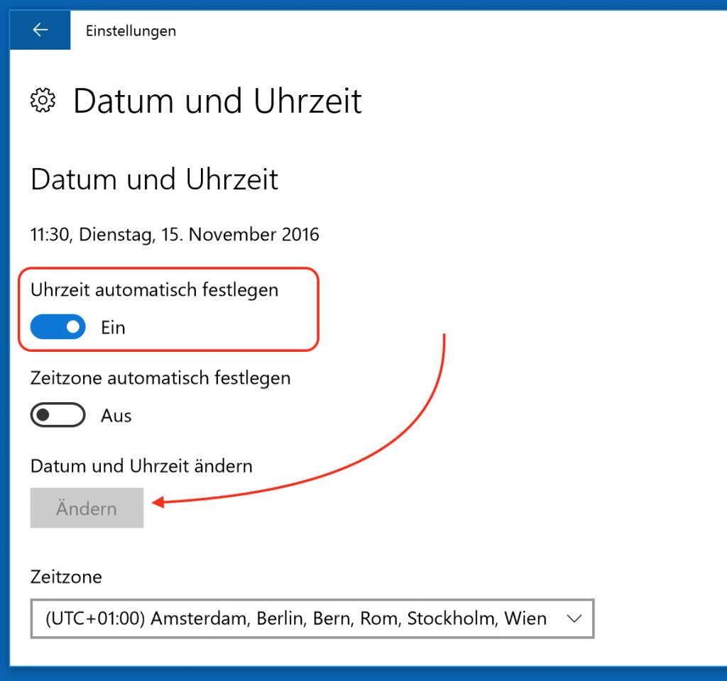 In Windows 10 wird die Uhrzeit automatisch eingestellt.