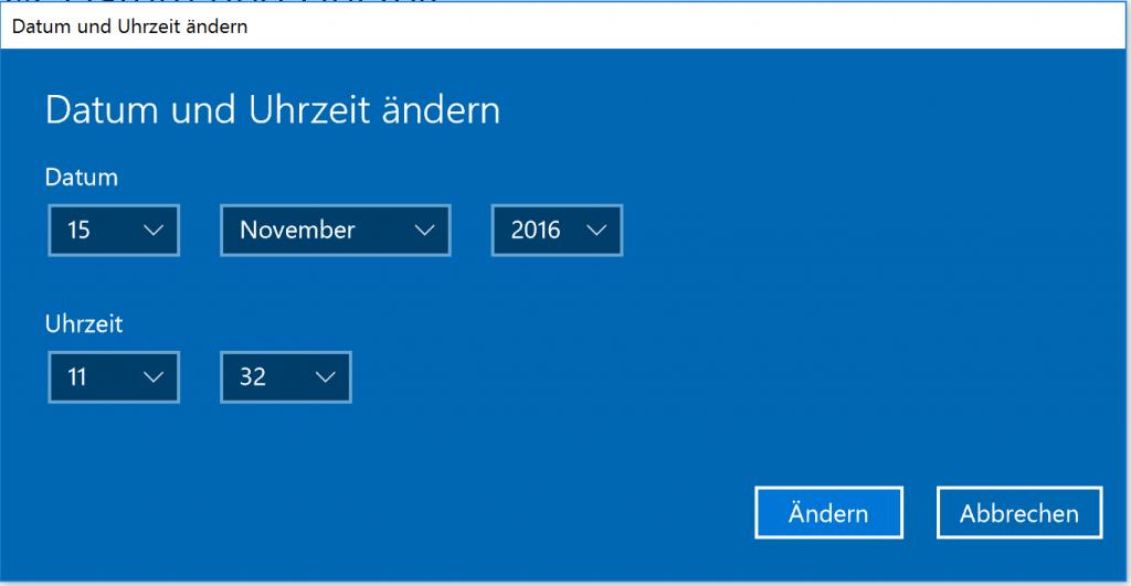Nach dem Abschalten der Automatik können Sie die Zeit in Windows 10 von Hand einstellen.