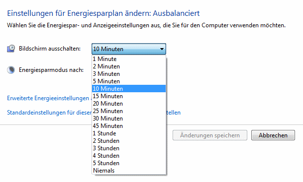 Energiesparmodus einstellen in Windows 7.