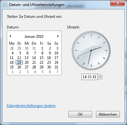 Uhrzeit ändern in Windows 7