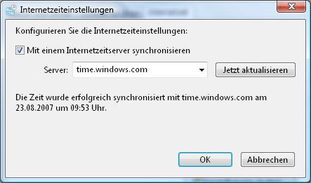 Vista-Dialog zum Uhrzeit synchronisieren