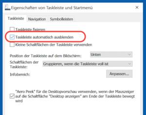 Option Taskleiste automatisch ausblenden in Eigenschaften der Taskleiste