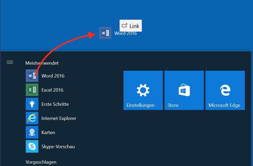 Programme aus dem Startmenü ziehen Sie einfach auf den Desktop.