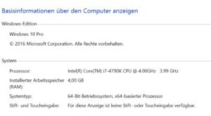 Windows Arbeitsspeicher ermitteln