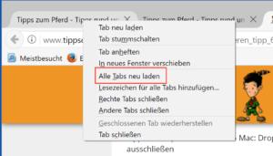 Webseiten neu laden in Firefox