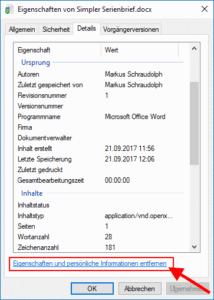 Metadaten einer Word-Datei