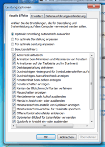 Leistungsoptionen von Windows 7