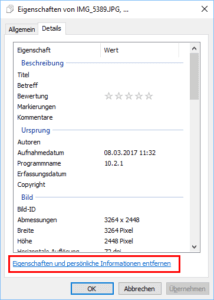 EXIF Daten entfernen