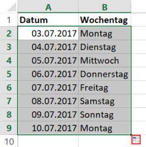 Excel Liste nur Arbeitstage 2